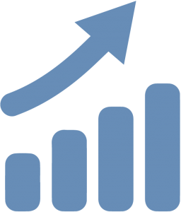 Blue bar chart with a rising arrow representing OEE Improvements