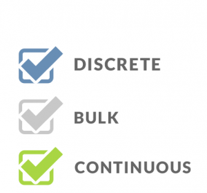 Three vertical ticked checkboxes representing discrete bulk and continuous manufacturing processes