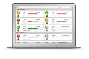 A laptop screen showing configurable OEE data from PerformOEE Smart Factory Software
