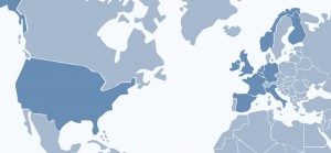 A map highlighting OEEsystems' installations worldwide