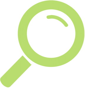 A green magnifying glass representing OEE visibility