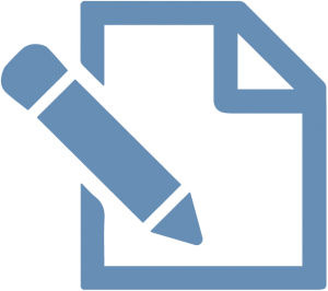 Blue pen and paper oee solution graphic on transparent background