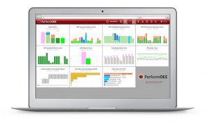 A silver laptop featuring a sample of PerformOEE's Report Pack & Per Built Dashboards containing valuable OEE tracking and Productivity data for the purpose of Shift Handover or Daily Production Meetings   OEE Software